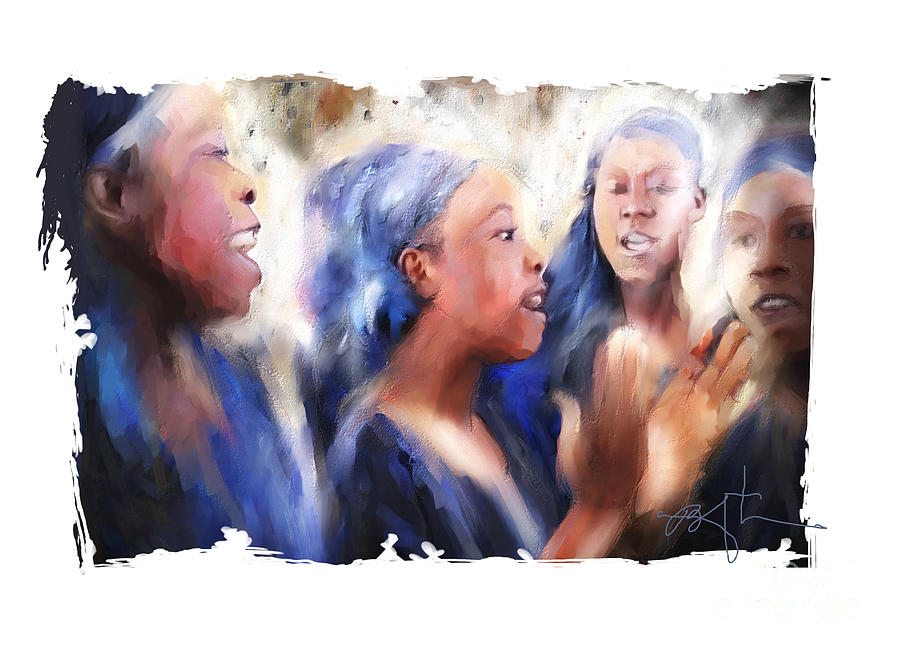 Girls Painting - Haitian Chorus Singers by Bob Salo