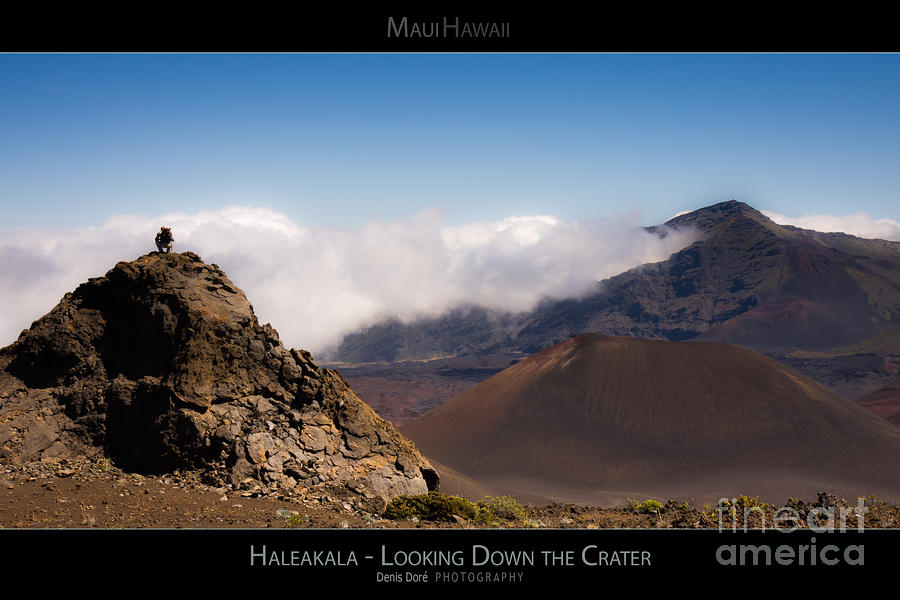 Above Photograph - Haleakala - Looking Down the Crater - Maui Hawaii Posters Series by Denis Dore