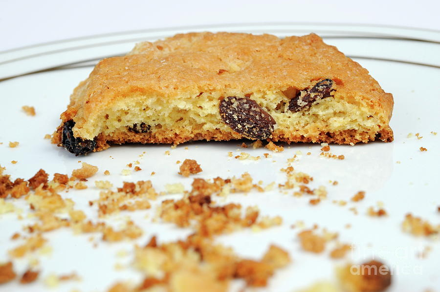 Food And Drink Photograph - Half Cookie And Crumbs In Plate by Sami Sarkis