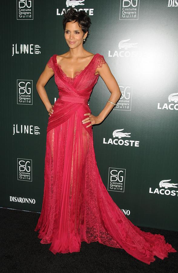 Halle Berry Wearing A Dress By Elie Photograph by Everett