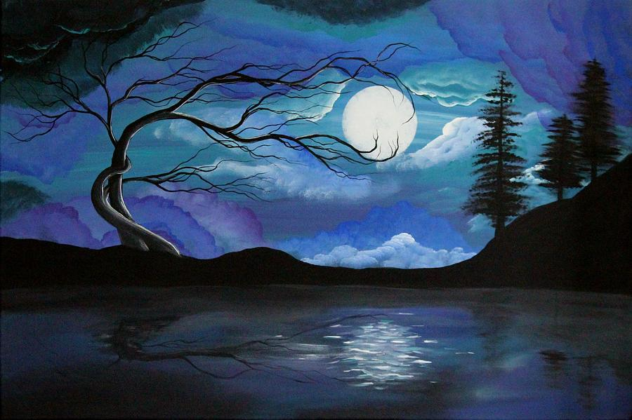 Blue Moon Painting - Hallelujah by Angie Phillips