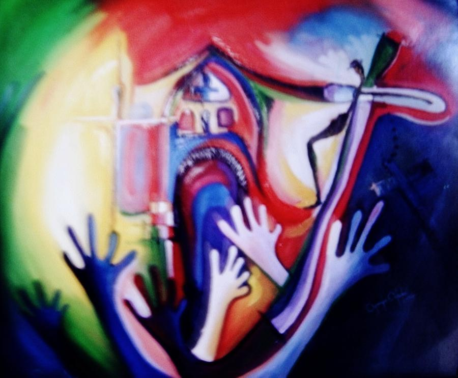 Contemporary Painting - Hallelujah At Cathedral by Oyoroko Ken ochuko