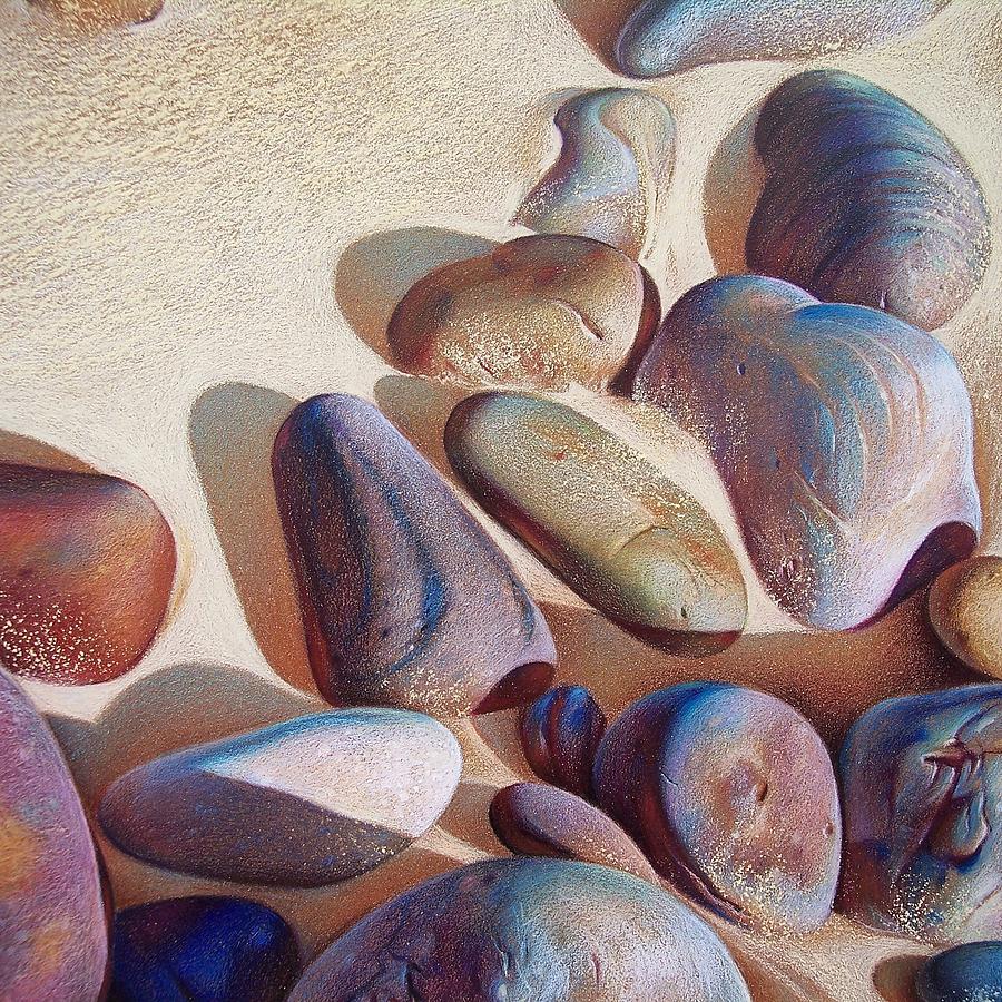 Beach Drawing - Hallett Coves Stones - Detail by Elena Kolotusha