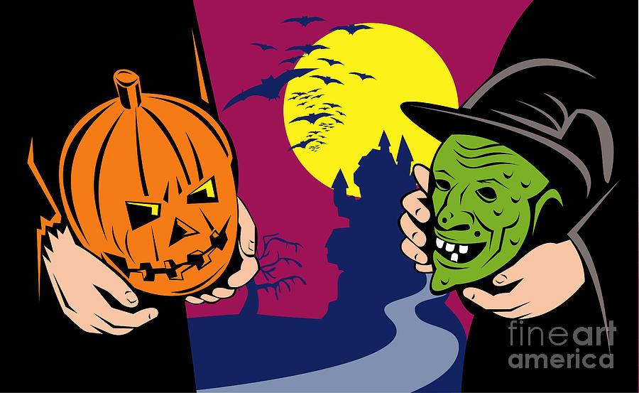 Halloween Digital Art - Halloween Mask Jack-o-lantern Witch Retro by Aloysius Patrimonio