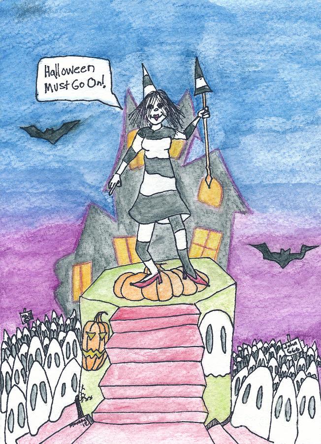 Halloween Drawing - Halloween Must Go On by Michael Mooney