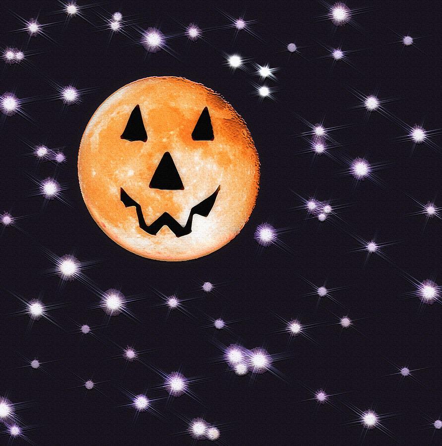Moon Photograph - Halloween Night - Moon And Stars by Steve Ohlsen