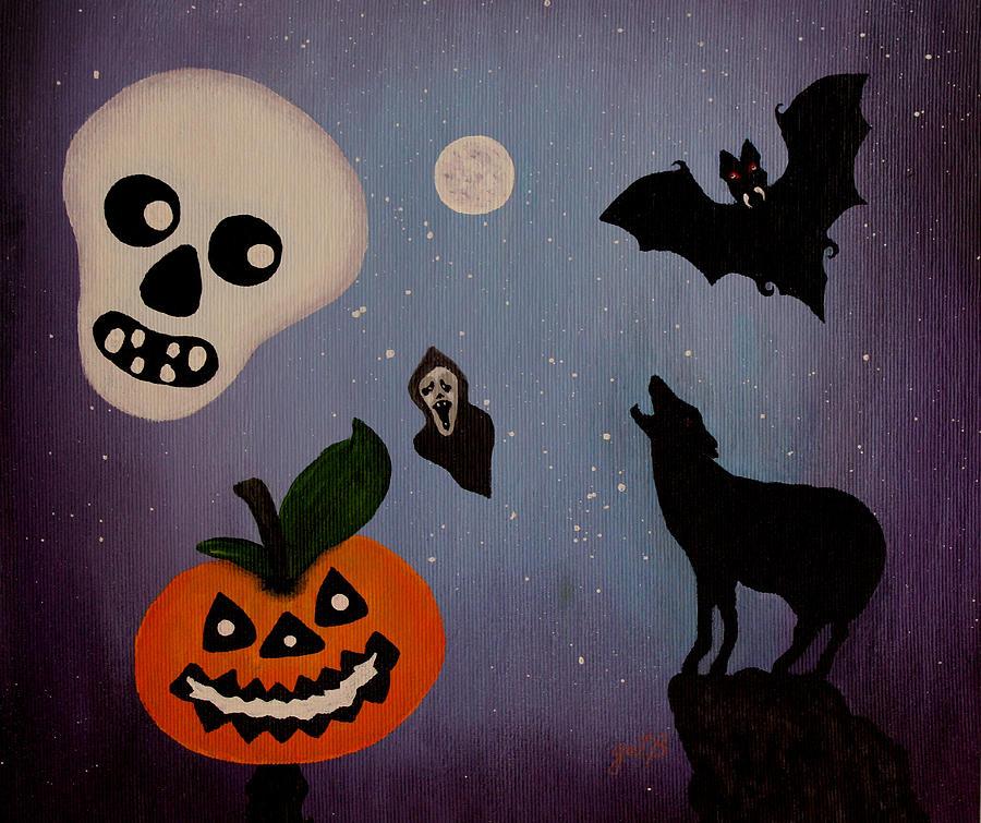 Halloween Party Painting - Halloween Night Original Acrylic Painting Placemat by Georgeta  Blanaru