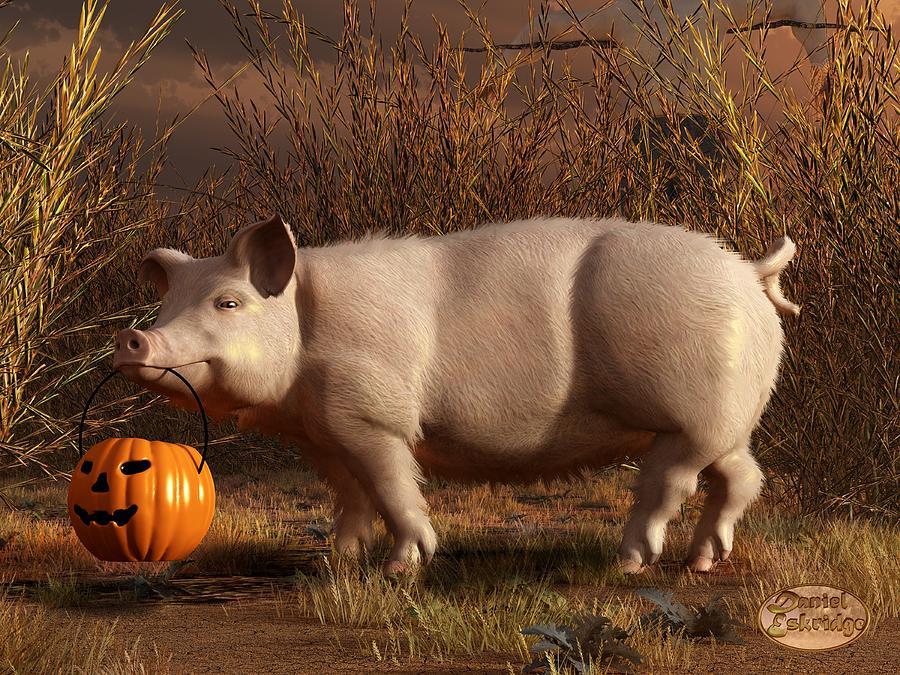 Pig Digital Art - Halloween Pig by Daniel Eskridge