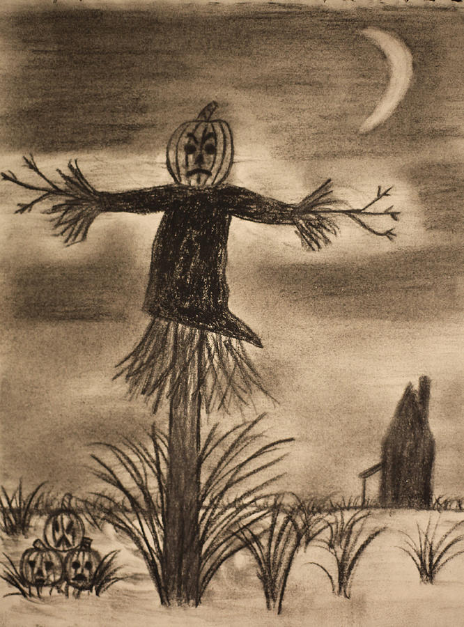 Halloween Scarecrow At Night Drawing by Mike M Burke