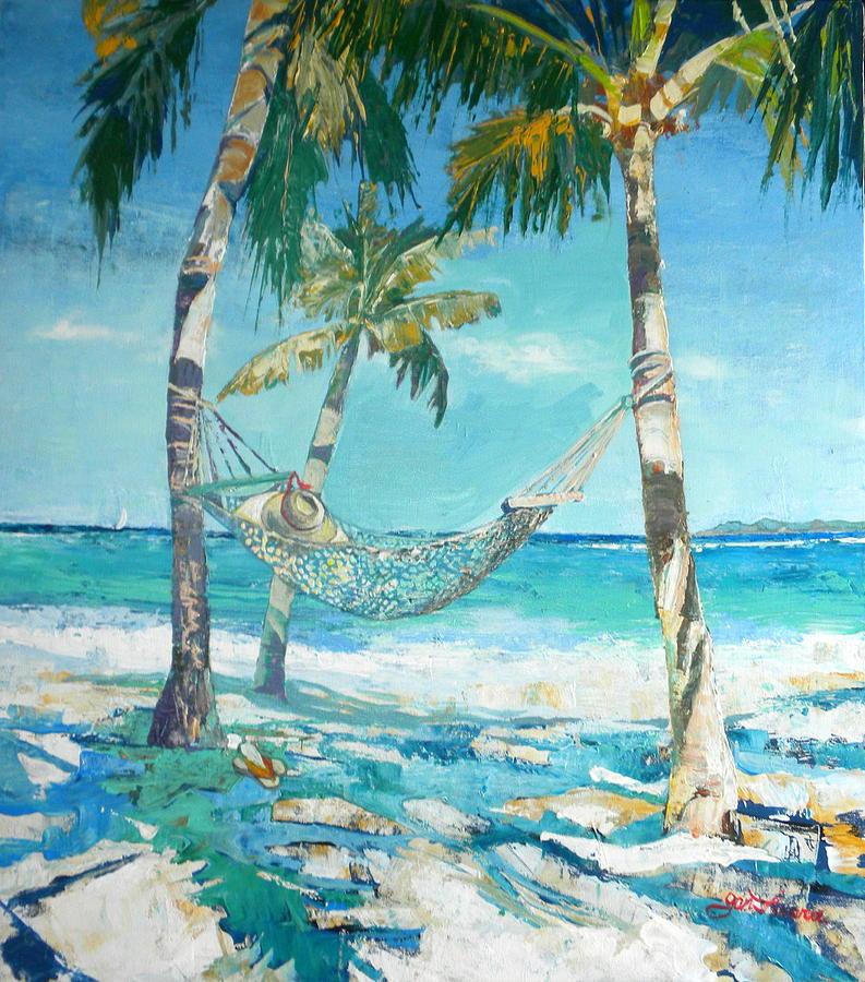 Hammock And Palms Painting by Jan Farara