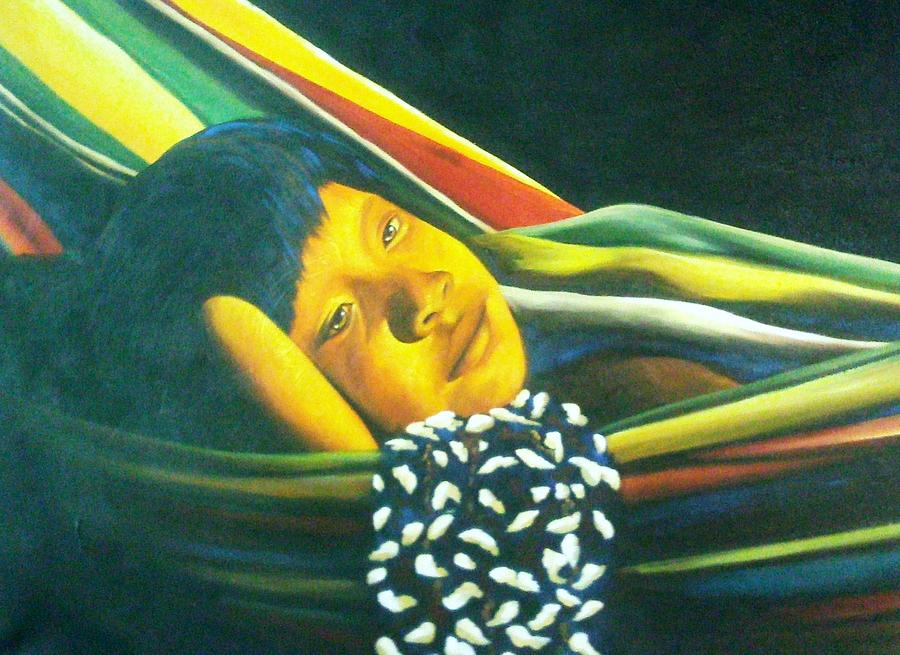 Orange Painting - Hammock Child by Unique Consignment