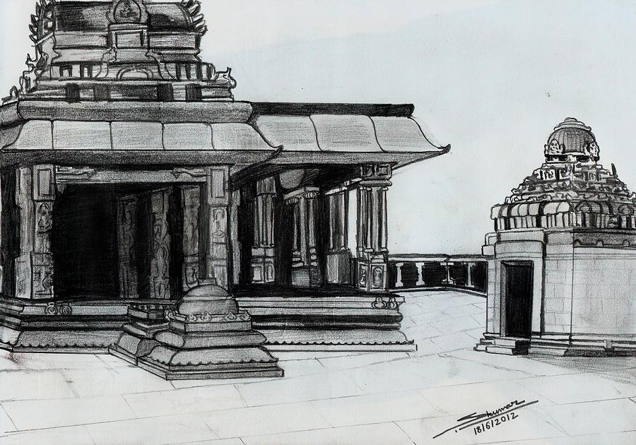 Landscape Drawing - Hampi Stone Structure 2 by Shashi Kumar