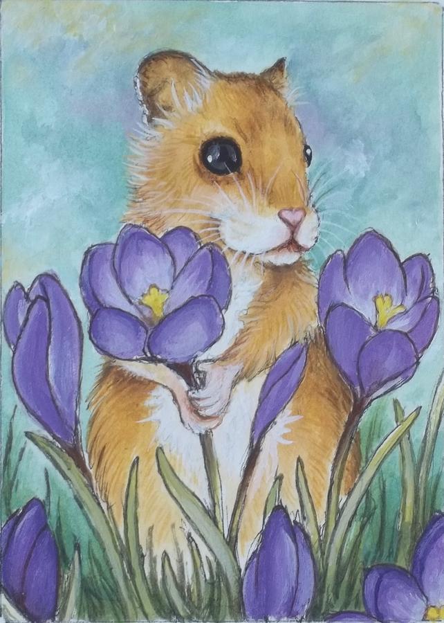 Teddybear Hamster Painting - Hamster Picking Purple Crocus by Debrah Nelson