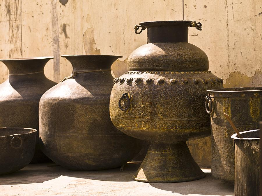 Artwork Photograph - Hand Crafted Jugs, Jaipur, India by Keith Levit