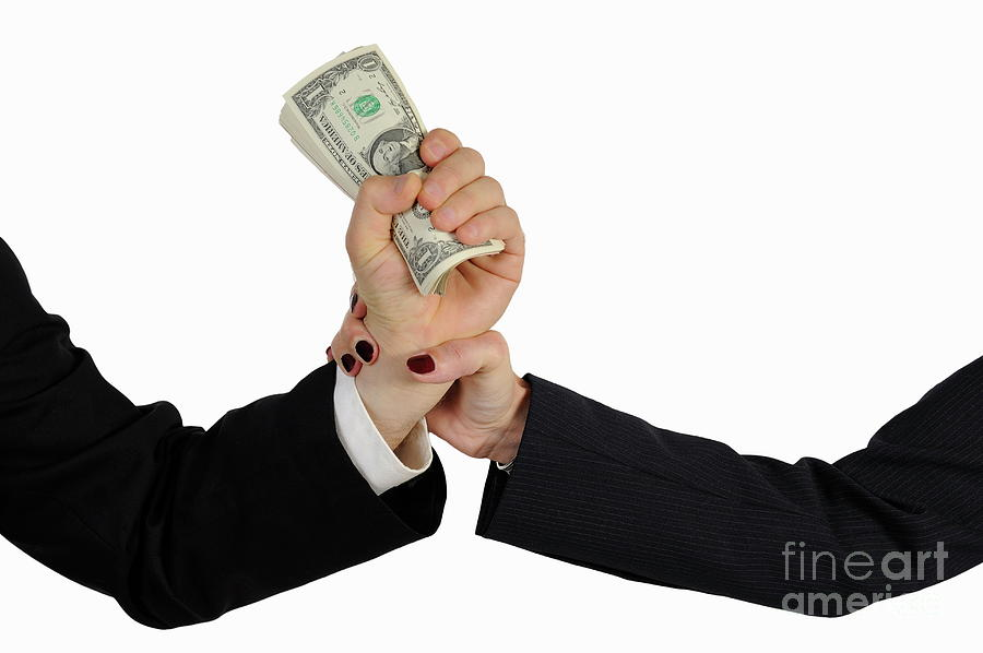 People Photograph - Hand Grabbing Businessman Fistful Of Money by Sami Sarkis
