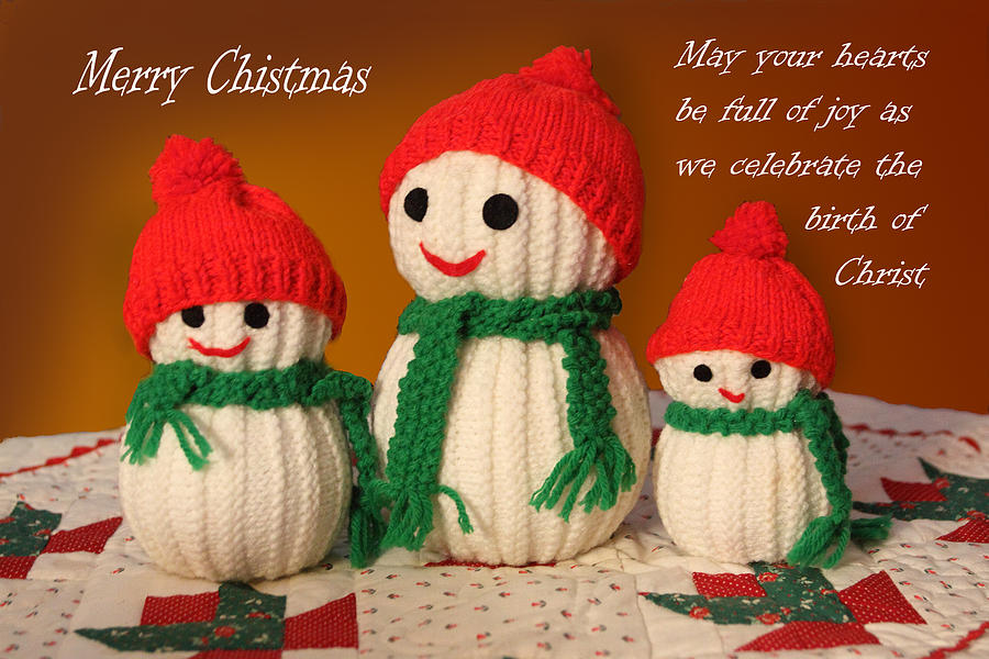 Holiday Photograph - Hand Knit Snowmen by Linda Phelps