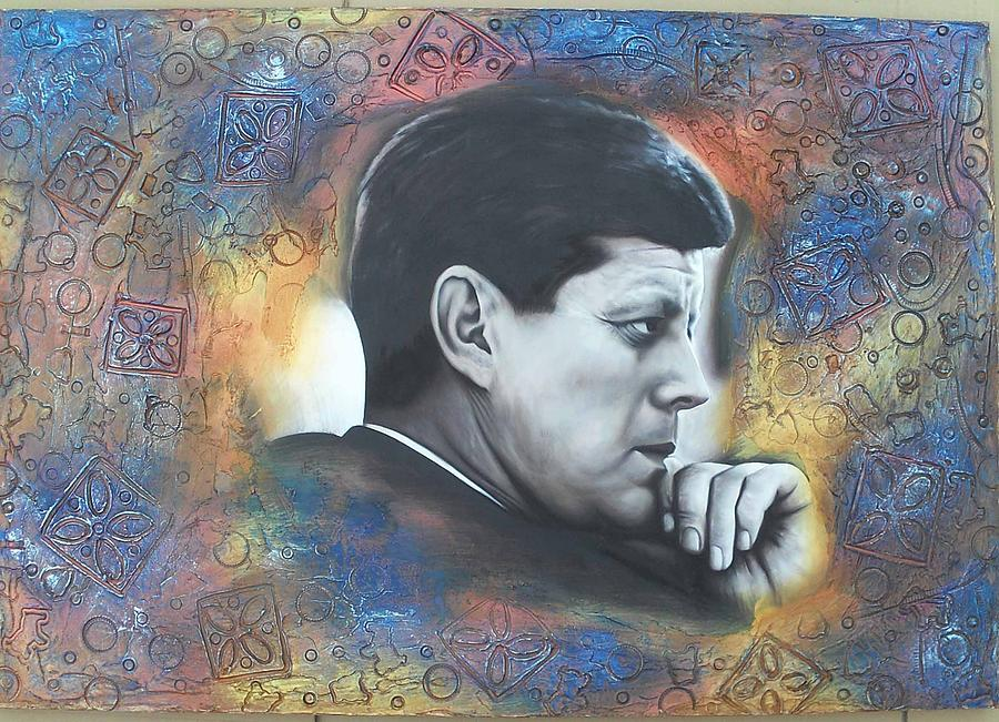 Jfk Sculpture - Hand Sculpted Painting John F Kennedy by Patrick