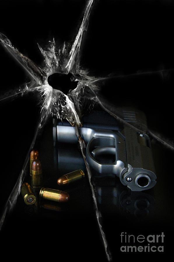 Gun Photograph - Handgun Bullets And Bullet Hole by Jill Battaglia