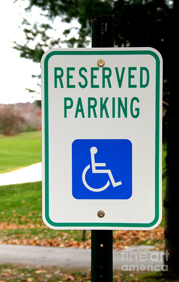 Sign Photograph - Handicapped Parking Sign by Photo Researchers