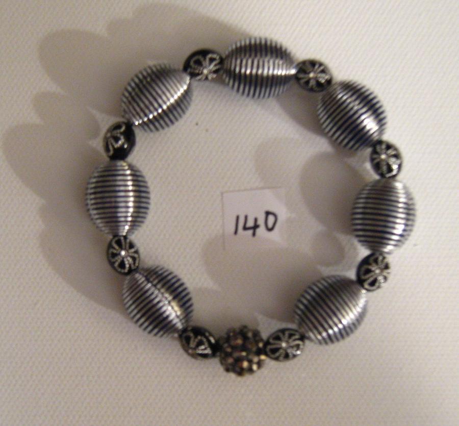 Bead Bracelet In Silver And Black Jewelry - Handmade Bracelet by Fatima Pardhan
