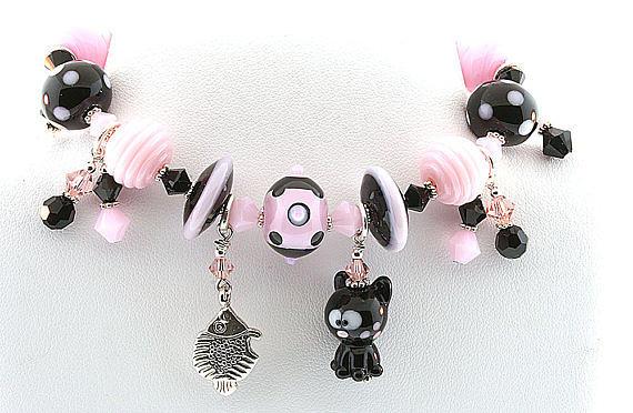 Lampwork Jewelry Jewelry - Handmade Glass Lampwork Black And Pink Cat Bracelet by  Chelsea  Pavloff