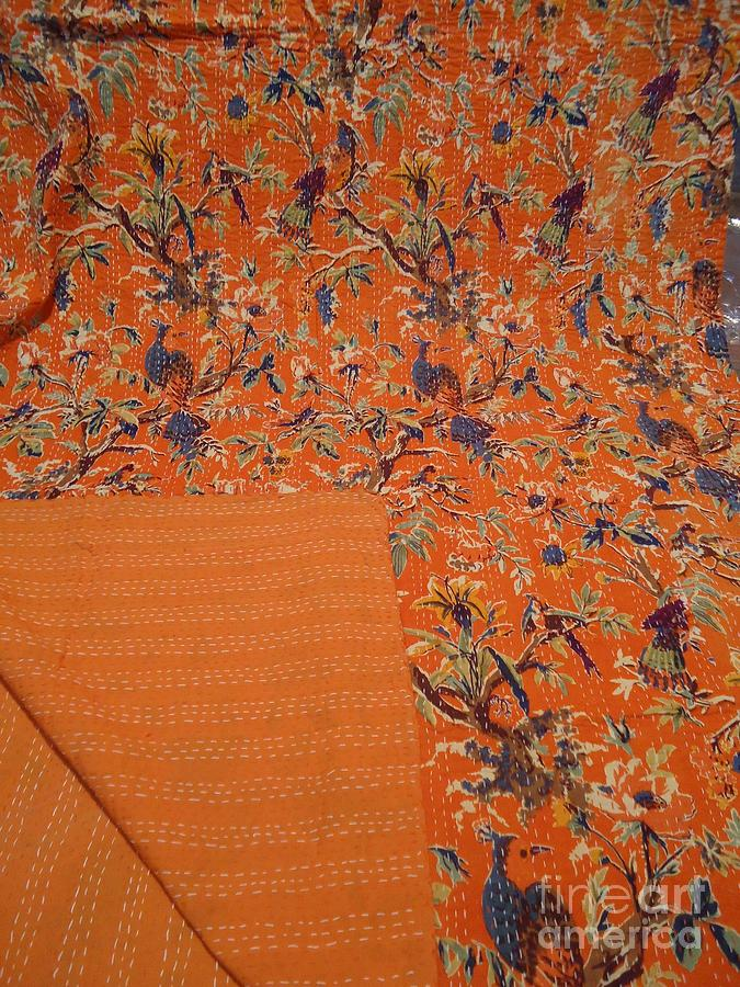 Indian Textiles Tapestry - Textile - Handmade Kantha Throws by Dinesh Rathi