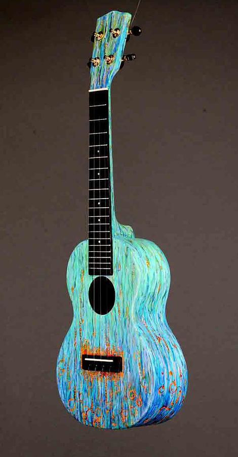 Ukulele Sculpture - Handpainted Pono Concert Ukulele by Jean Groberg