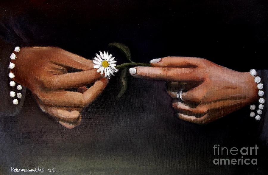 Oil Painting - Hands And Daisy by Kostas Koutsoukanidis