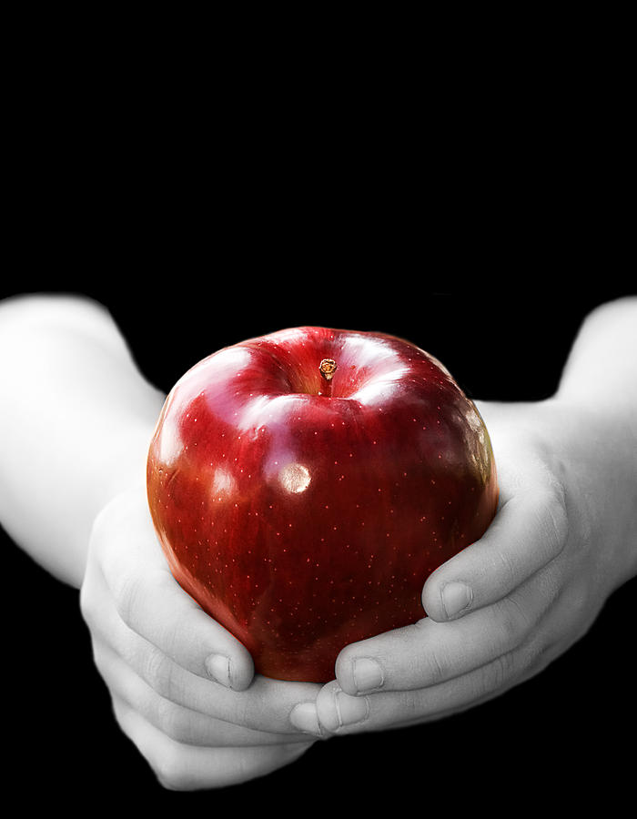Black Photograph - Hands Holding Apple by Trudy Wilkerson