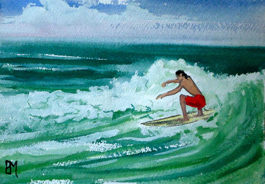 Surfing Painting - Hang Loose by Pete Maier