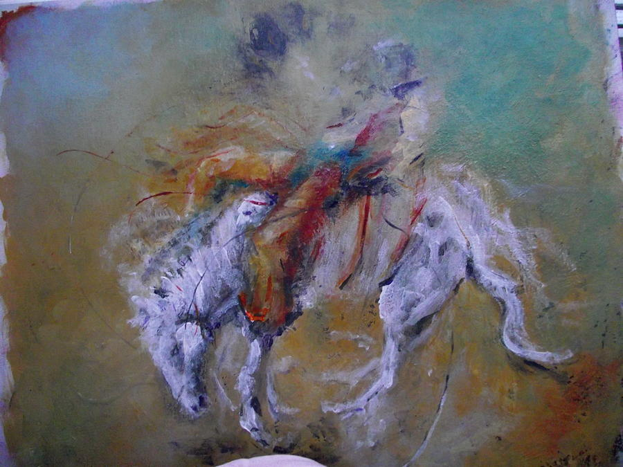 Rodeo Painting - Hangin In by Ken Parkes