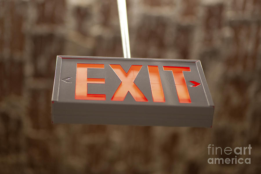 Hanging Exit Sign Photograph By Eddy Joaquim