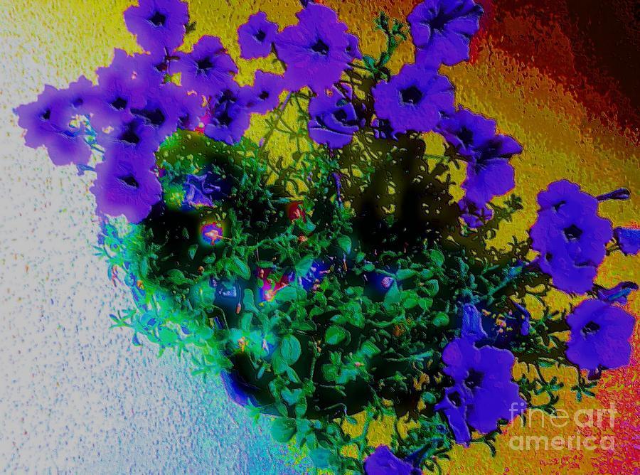 Petunias Painting - Hanging Flower Basket by Patrick Harris