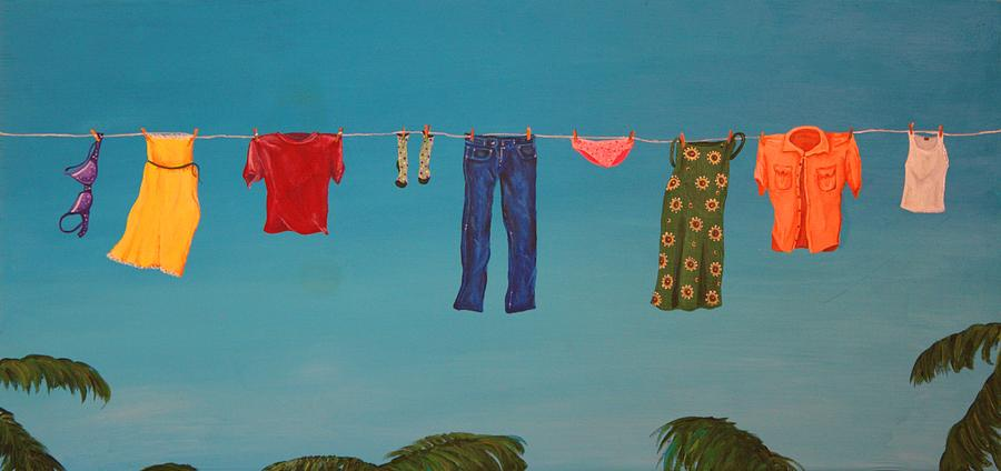 Clothesline Painting - Hanging Out To Dry by Jennifer Lynch