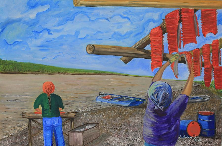 Alaska Painting - Hanging Salmon On The Yukon River by Amy Reisland-Speer