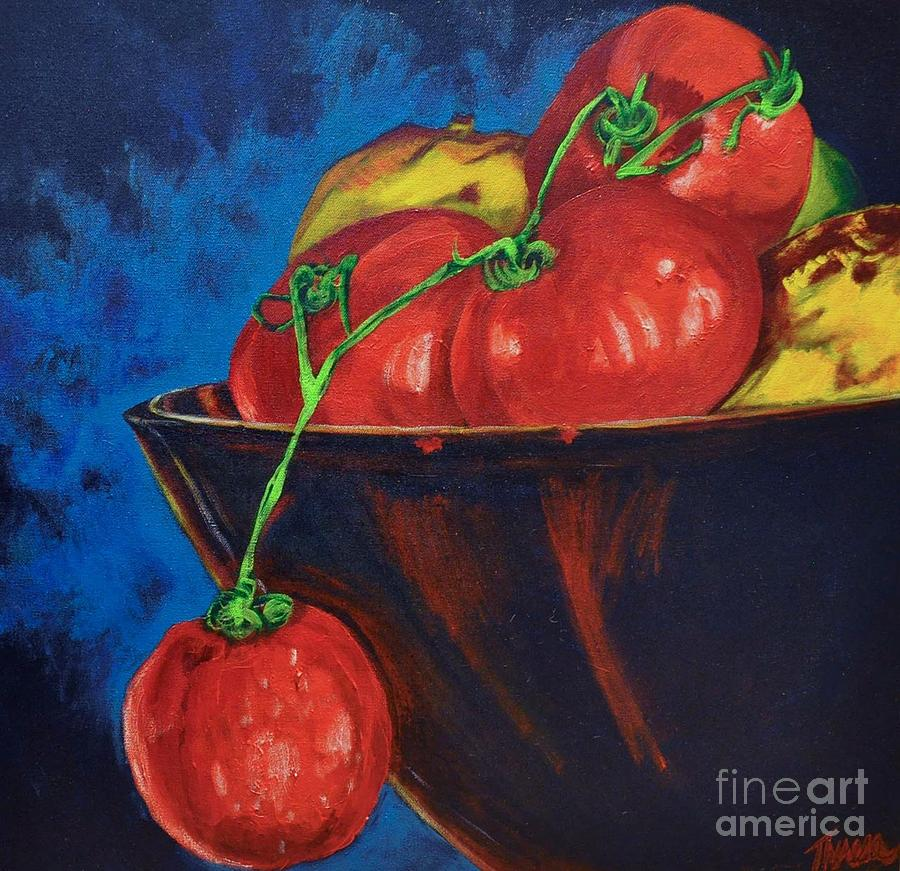 Original Abstract Art Acrylic Prints Painting - Hanging Tomato by Theresa Eisenbarth