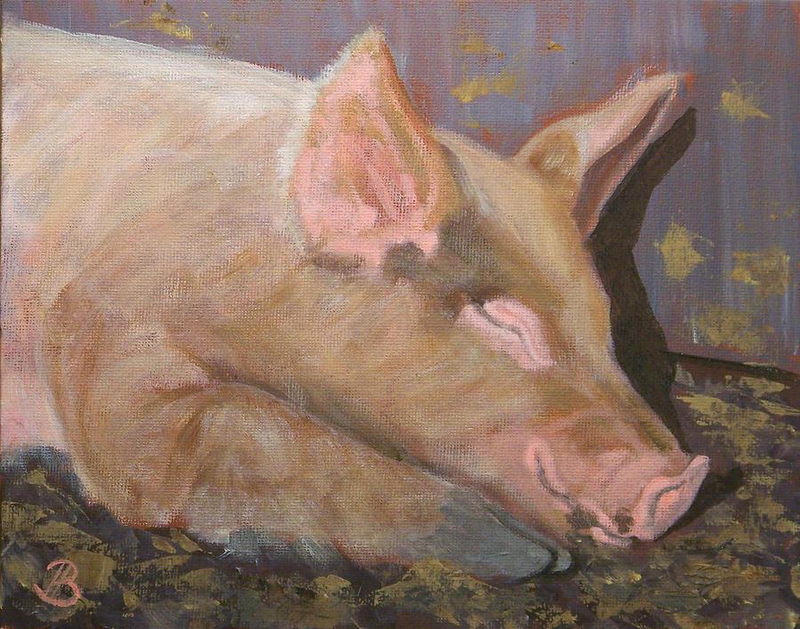 Pig Painting - Happy As A Pig by Joe Bergholm