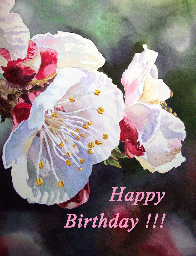 Happy Birthday Card Apricot Flowers Painting By Irina Sztukowski
