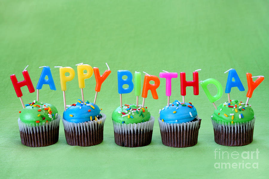 Baked Photograph - Happy Birthday Cupcakes by Darren Fisher