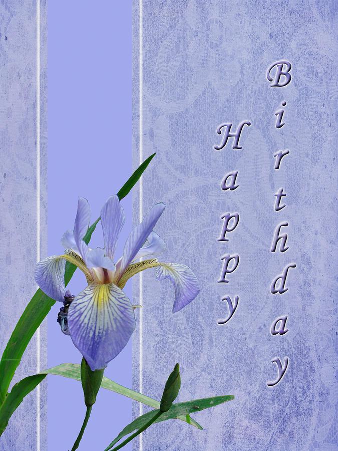 happy birthday greeting card  blue flag iris wildflower