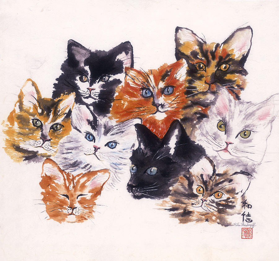 Tabby Painting - Happy Cats by Hilda Vandergriff