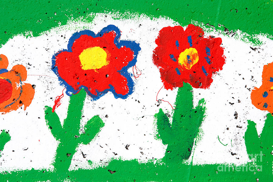 Drawing Photograph - Happy Colorful Flowers by Gaspar Avila