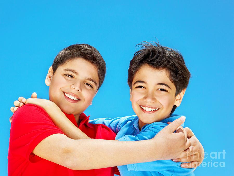 Activity Photograph - Happy Cute Boys Over Blue Sky by Anna Om