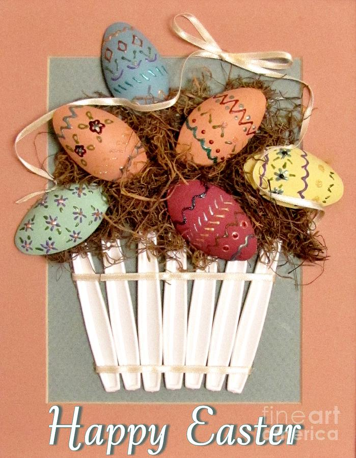 Easter Eggs Relief - Happy Easter by Marilyn Smith