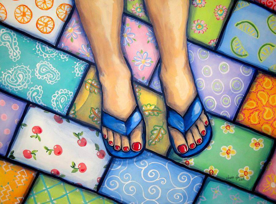 Feet Painting - Happy Feet by Sandra Lett