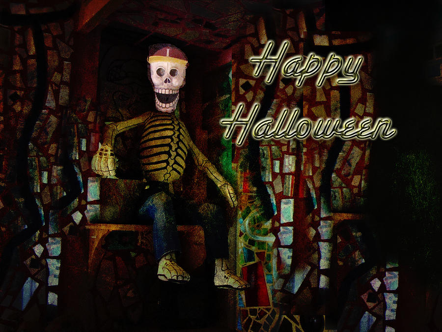 Halloween Photograph - Happy Halloween Skeleton Greeting Card by Mother Nature
