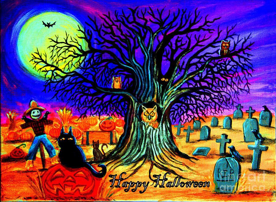 Halloween Painting - Happy Halloween Spooky Night by Nick Gustafson