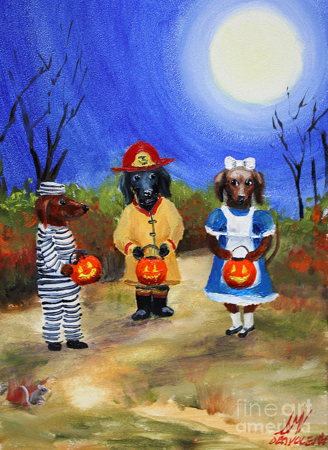 Dachshund Painting - Happy Halloweenies Fireman Alice Prisoner by Stella Violano