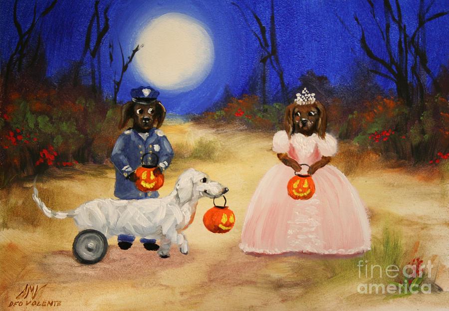 Dachshund Painting - Happy Halloweenies Mummy Policeman And Princess by Stella Violano