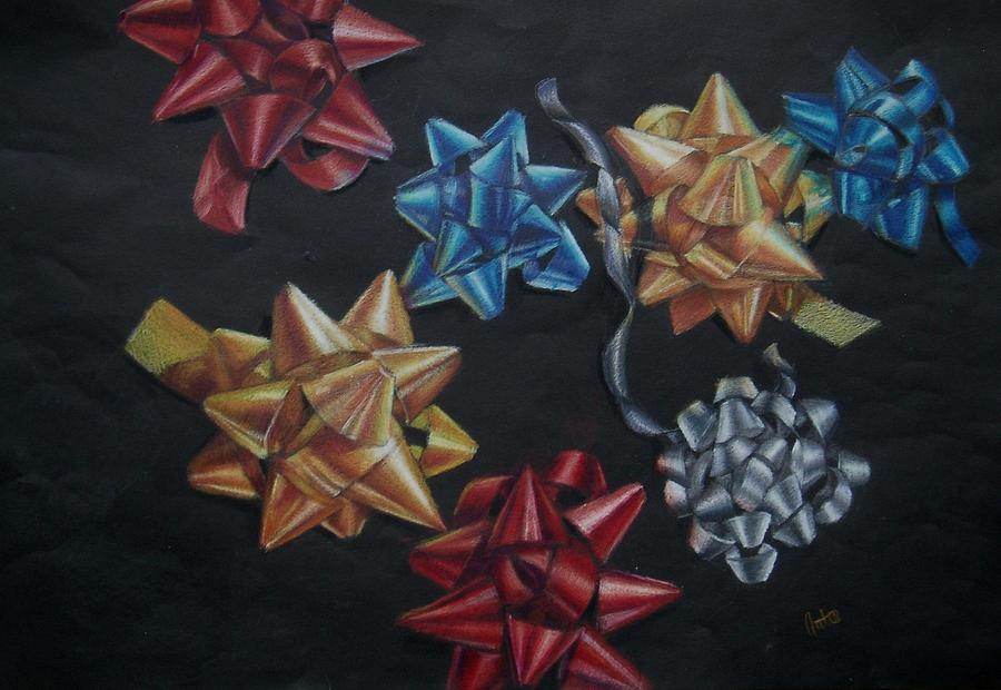 Bow Drawing - Happy Holidays by Joanna Gates